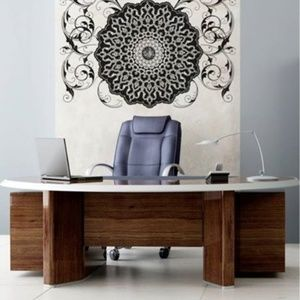 Accessories - Vinyl wall decal  Arabic flower circle mandala NEW